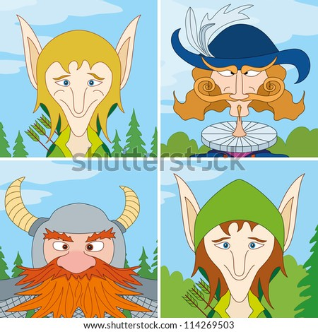 Avatar faces of fantasy brave heroes: two elves, dwarf and noble man, funny comic cartoon user icons, set. Vector - stock vector