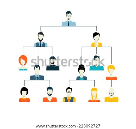 Avatar hierarchy corporate organisation structure family tree generation connection concept vector illustration - stock vector