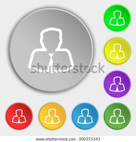 Avatar icon sign. Symbol on eight flat buttons. Vector illustration - stock vector