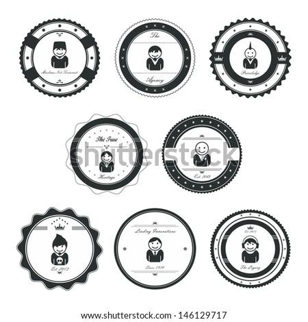 avatar label vintage graphic set - stock vector