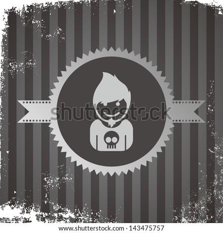 avatar portrait icon vintage grungy rock star - stock vector