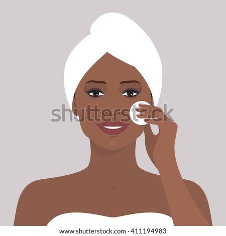 Avatar portrait of beautiful african american woman cleaning her face with cotton pad. Vector illustration of smiling woman with towel on her head. Beauty and health. Flat design.  - stock vector
