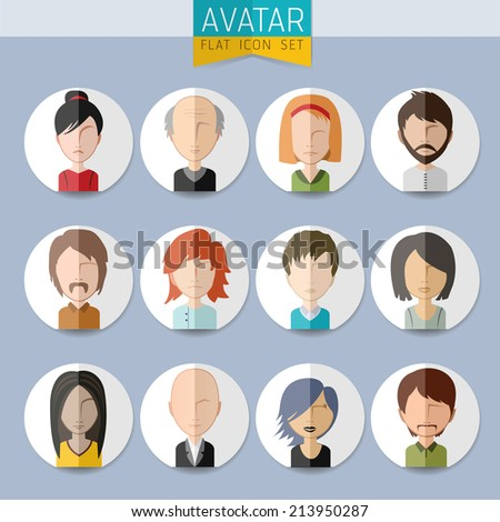 Avatar vector Social Network stylish Set of girls and guys and women and men connected. Vector flat design illustration easy editable for Your design. - stock vector