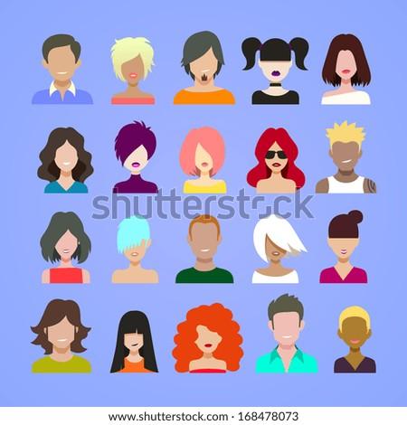 avatars icons. - stock vector