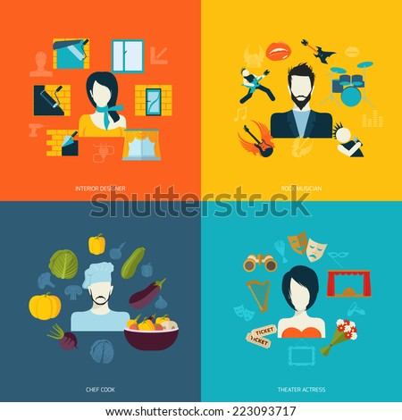 Avatars icons set flat with interior designer rock musician chef cook theater actress isolated vector illustration - stock vector