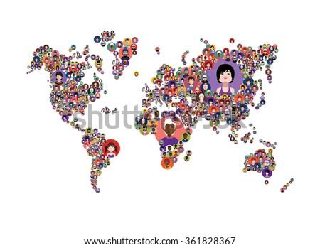 Avatars in World map - stock vector