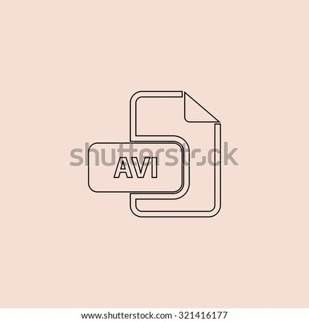 AVI video file extension. OOutline vector icon. Simple flat pictogram on pink background - stock vector