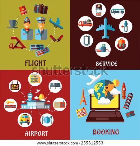 Aviation, airport and travel concept flat designs with many icons for tourism and transportation industry - stock vector