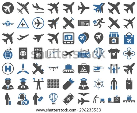 Aviation Icon Set. These flat bicolor icons use cobalt and gray colors. Vector images are isolated on a white background. - stock vector