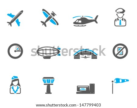 Aviation icons in duo tone colors - stock vector