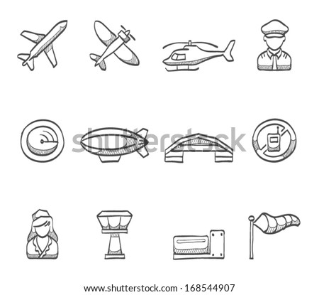 Aviation icons in sketch. - stock vector