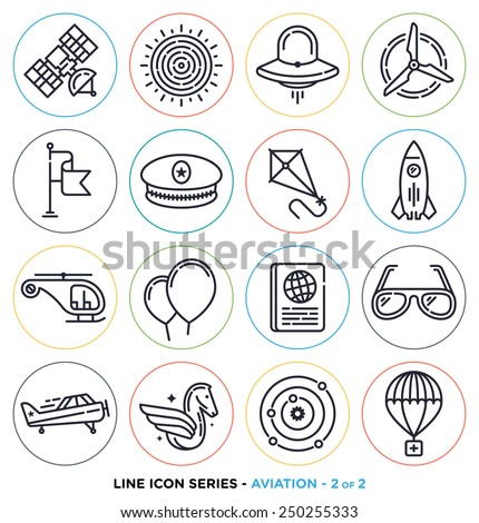 Aviation line icons set. Vector collection of everything up in the air. - stock vector