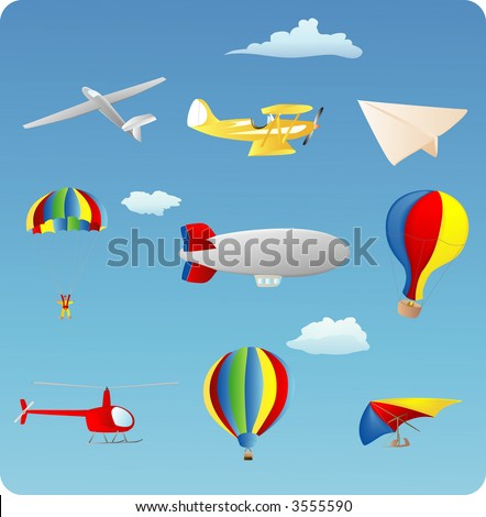 aviation themed set of various types of aircraft - stock vector