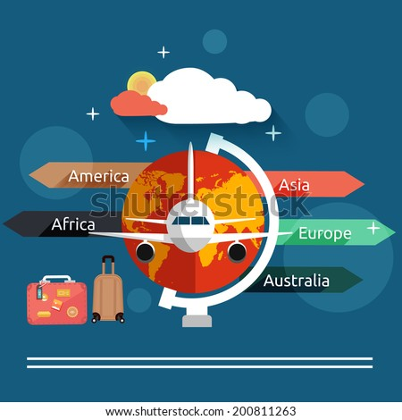 Aviator concept in flat design. Airplanes flying over the map in different countries. Icons set of traveling, planning a summer vacation, tourism and journey objects and passenger luggage - stock vector