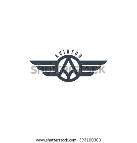 aviator symbol - logotype theme - stock vector