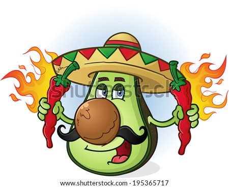 Avocado Mexican Cartoon Character Wearing Sombrero Holding Peppers - stock vector