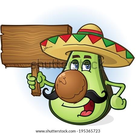 Avocado Mexican Cartoon Character Wearing Sombrero Holding Sign - stock vector