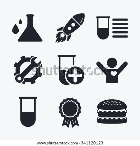 Award achievement, spanner and cog, startup rocket and burger. Chemistry bulb with drops icon. Medical test signs. Laboratory equipment symbols. Flat icons. - stock vector