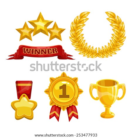 Award and trophy icons set, isolated vector golden elements - stock vector