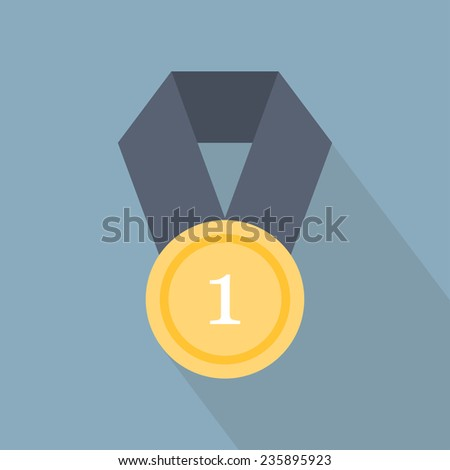 Award icon. Medal icon. Flat style. Vector illustration - stock vector