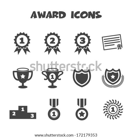 award icons, mono vector symbols - stock vector
