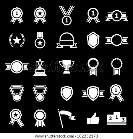 Award icons on black background, stock vector - stock vector