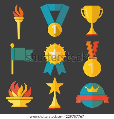 Award icons set vector - stock vector
