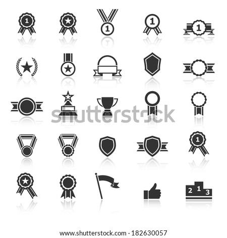 Award icons with reflect on white background, stock vector - stock vector