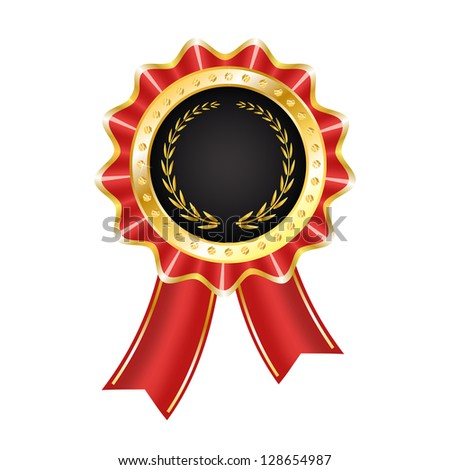 Award Label with Ribbon - stock vector