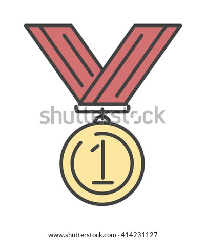 Award medal gold success winner competition symbol with ribbon outline art vector icon. Award gold medal icon and winner award medal symbol. Success achievement champion medal emblem line icon. - stock vector