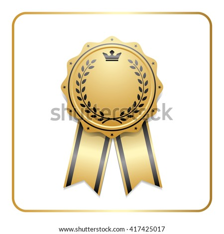 Award ribbon gold icon. Blank medal with laurel wreath isolated on white background. Stamp rosette design trophy. Golden symbol of winner, celebration, sport competition, champion. Vector illustration - stock vector
