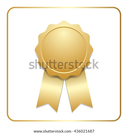 Award ribbon gold icon. Blank medal with stars isolated on white background. Stamp rosette design trophy. Golden emblem. Symbol of winner, celebration, sport achievement, champion. Vector illustration - stock vector