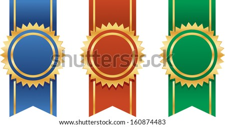award winning ribbons - stock vector