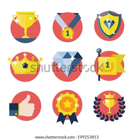 Awards icons set. - stock vector