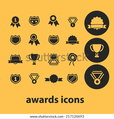 awards icons, signs, illustrations, silhouettes set, vector - stock vector