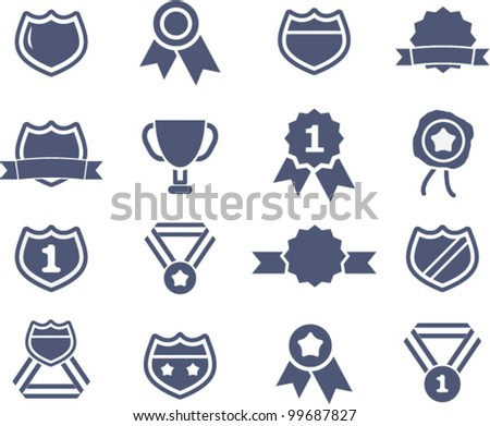 awards lables icons set, vector - stock vector