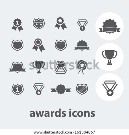 awards, trophy, victory icons set, vector - stock vector