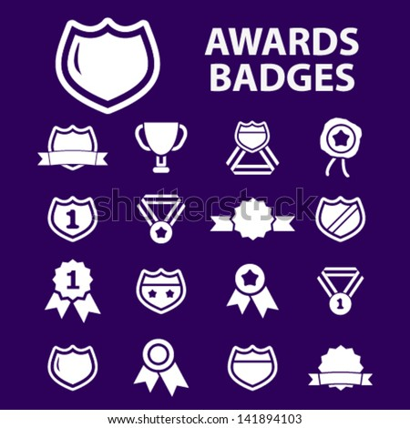 awards trophy, winning, victory, game, labels, badges, icons, signs set, vector - stock vector