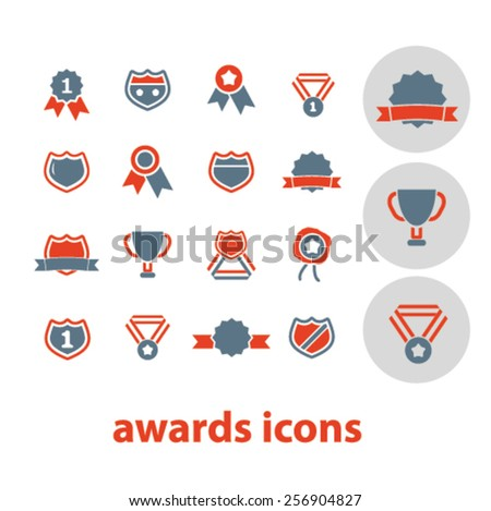 awards, victory, achievement, trophy isolated icons, signs, illustrations concept set on background. vector - stock vector