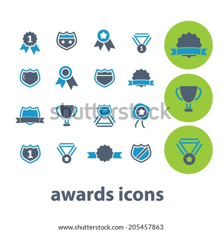 awards, victory icons set, vector - stock vector