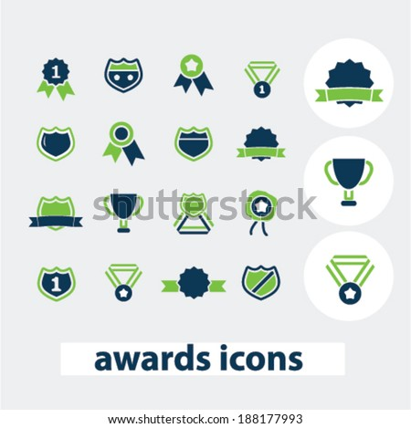 awards, victory, medals icons set, vector - stock vector