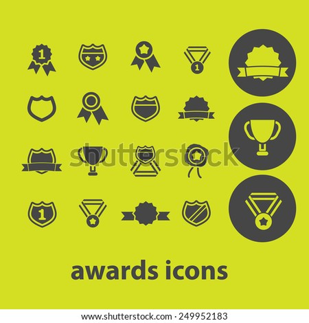 awards, victory, trophy icons, signs, illustrations on background set, vector - stock vector