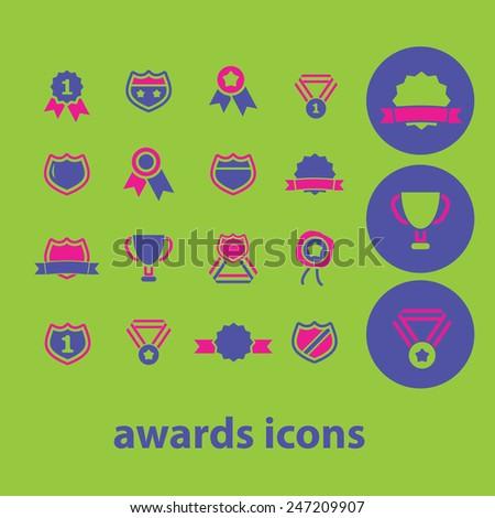 awards, victory, winner, emblem, medal, trophy icons, signs, illustrations set, vector - stock vector