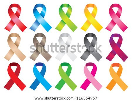 Awareness ribbons in different colors. Vector illustration. - stock vector