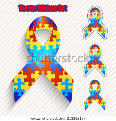 awareness ribbons set - stock vector
