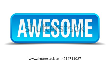 awesome blue 3d realistic square isolated button - stock vector