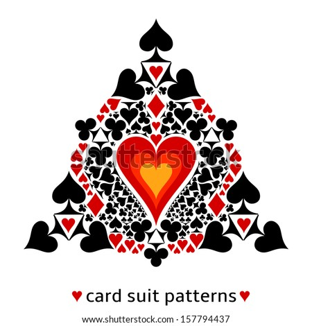 Awesome card suit pattern. Heart in the middle surrounded with all card suits. Illustration of gambling as a lifestyle. - stock vector