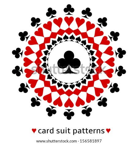 Awesome club card suit snowflake. Club in the middle surrounded with spades, diamonds and hearts. - stock vector