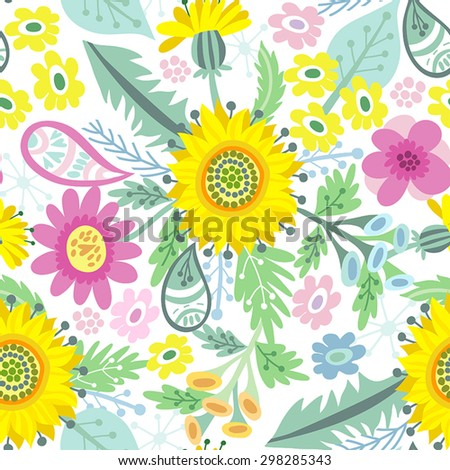 Awesome floral pattern go bright summer flowers, plants, branches and graphic elements.  - stock vector
