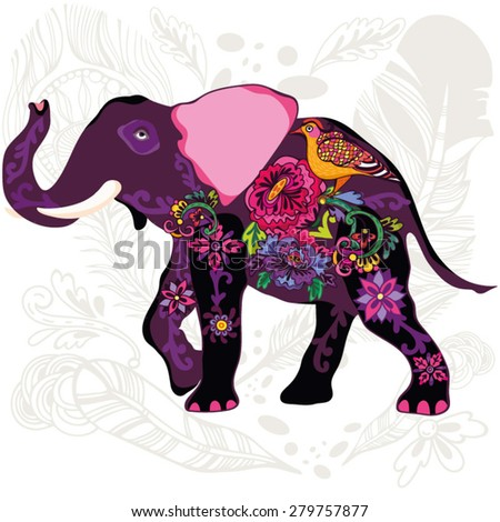 Awesome illustration of oriental elephant with flowers and feathers. - stock vector
